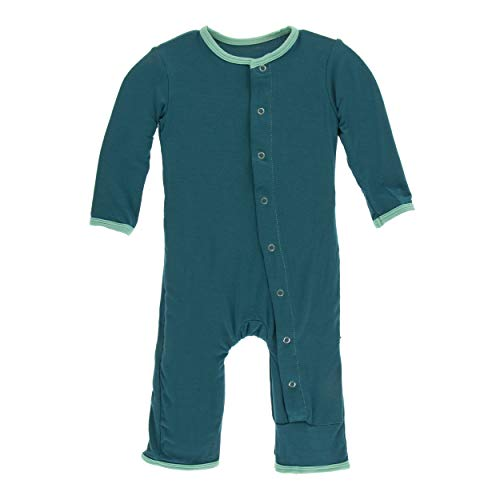 Kickee Pants Little Boys Solid Coverall with Snaps - Oasis with Glass, 3-6 Months ()