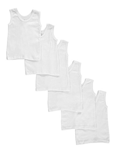 Bambini Baby Boys Girls Unisex 6-Pack Sleeveless T-Shirts Tanks, White, Small 14-18 Lbs