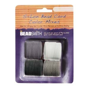 4 Spools Super-lon #18 Cord Ideal for Stringing Beading Crochet and Micro-macram Jewelry Compatible with Kumihimo Projects S-lon Black White Grey Mix