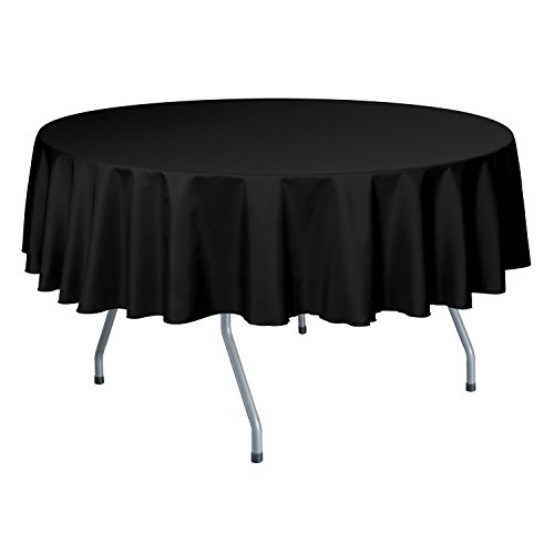Ultimate Textile (10 Pack) 60-Inch Round Polyester Linen Tablecloth - for Wedding, Restaurant or Banquet use, Black by Ultimate Textile