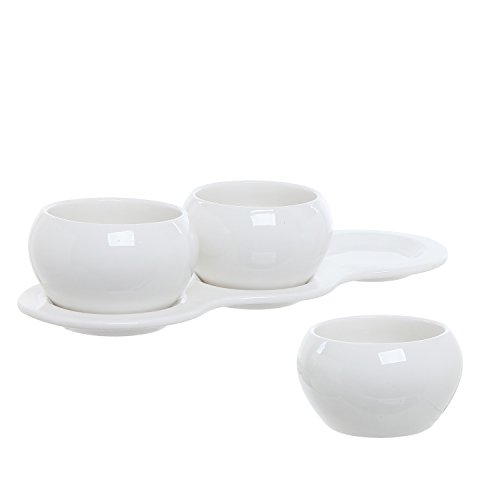 MyGift 4 Piece Small White Ceramic Planter Set/Kitchen Herb Garden Plant Pots Collection with 3 Pots & 1 Tray