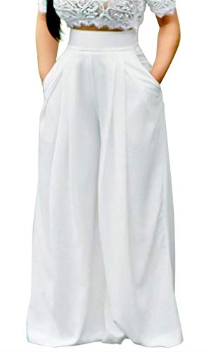 (Women's Casual Flare Pants High Waist Wide Leg Flowy Long Palazzo Pants Lounge Zipper)