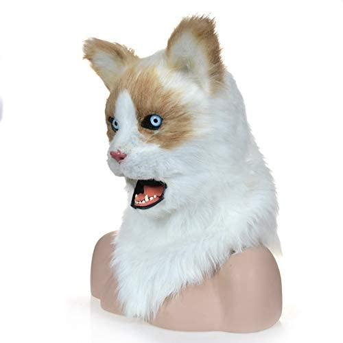 Amazon Com Realistic Animal Mask Furry Mask Simulation Cat Mask Moving Mouth Mask Animal Mask Color Yellow Home Kitchen