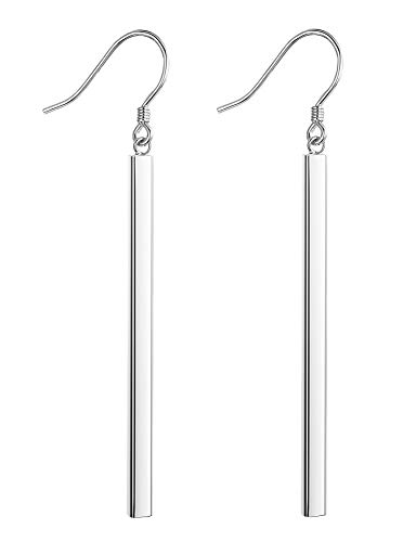 FUNRUN JEWELRY Sterling Silver Vertical Bar Dangle Earrings for Women Girls Drop Earrings Hypoallergenic
