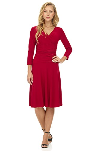 - Rekucci Women's Slimming 3/4 Sleeve Fit-and-Flare Crossover Tummy Control Dress (18,Cherry)