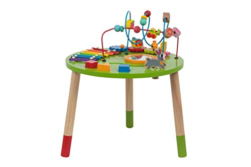 (Wooden Activity Table for Toddlers | Multi-Purpose Children's Educational Learning Play Toy Set | Playset Easel with Bead Maze, Shape Block Puzzle for 2 Year Old Boy and Girls | ED435)
