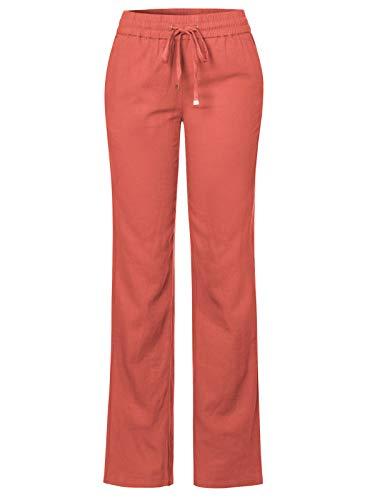 - Design by Olivia Women's Comfy Drawstring Elastic Waist Linen Pants with Pocket Rust L