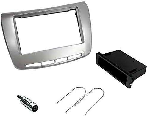 2 DIN per Lancia Delta grigio silver Kit mascherina adattatore autoradio 1 DIN