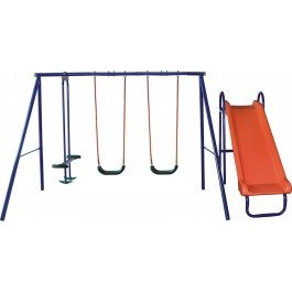 Five Station Kids Swing Set With Slide And Seesaw Amazon Co Uk