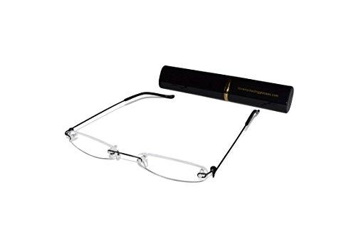 Por Negro a juego ultra 0 una unisex de ilovemyreadingglasses marco y Incluyen de lectura Gafas 2 ligeras aluminio Negro funda sin Ultra delgadas fxHTTB