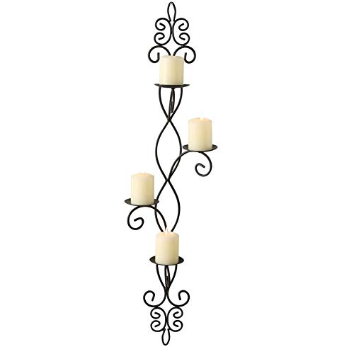 - WHW Whole House Worlds French Country Wall Sconce for 4 Candles, Curled Iron, Rustic Black Craft Finish, Center Spikes, Vertical Orientation, Fleur De Lis, Arabesque, Exclusive, 35 3/4 Inches Tall