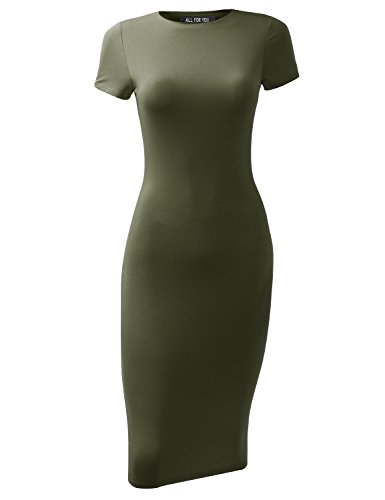A.F.Y All For You Women's Slim Fit Sandwich Dress Olive X-Large