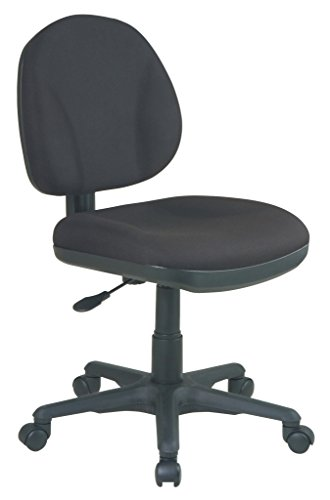 Office Star Sculptured Task Office Chair without Arms in Bla