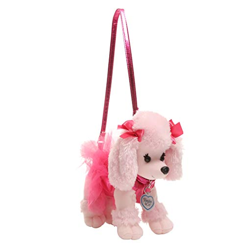 Poochie Poochie and Co. Girls Plush Handbag- Pink Poodle with Fuchsia Disco Dots and Tutu ()