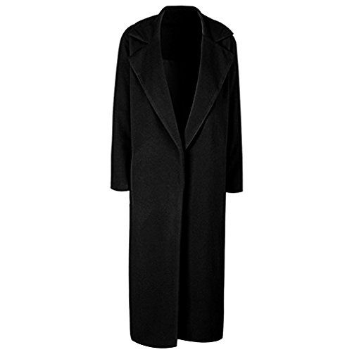 Hunleathy Women's Classic Long Overcoat Jacket Wool Blend Warm Winter Cardigan Coats Black XL (Coat Wool Black Women For)