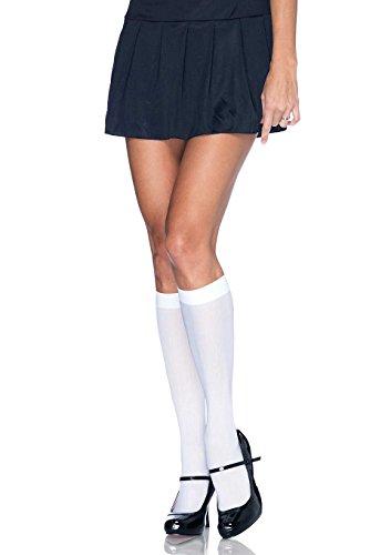 Leg Avenue Women's Nylon Opaque Knee Highs Hosiery, White, One (Knee High Womens Costumes)