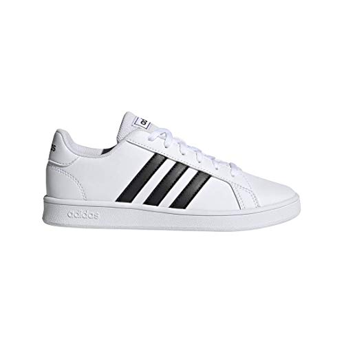 adidas Unisex-Kid's Grand Court K Sneaker, White/Black/White, 3.5 M US Big Kid