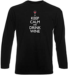 T-Shirt Manica Lunga Uomo Nera WES0279 Keep Calm And Drink Wine