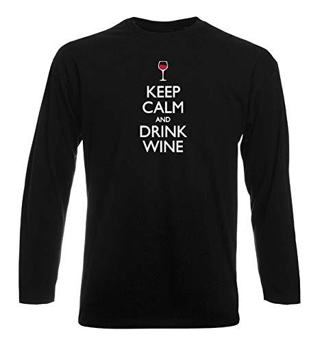 T-Shirt Manica Lunga Uomo Nera WES0279 Keep Calm And Drink Wine