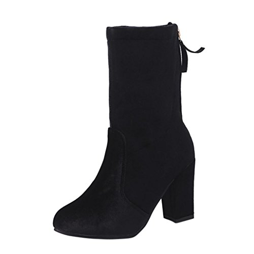 55319462fec3e Kaicran Bottes Dhiver Femmes Bottes Dames Boucle Faux Bottes Chaudes  Bottines Talons Hauts Chaussures Martin Noir