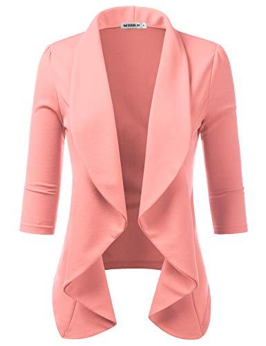 TWINTH Women's Basic Boyfriend Ponte Rolled Blazer Jacket Suits Peach 1X Plus Size