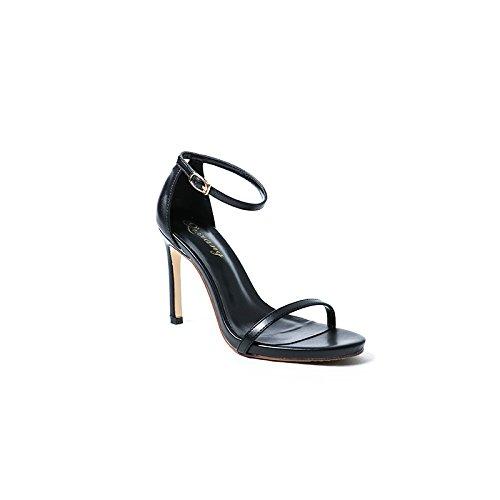 Rocío Sandalias Fina Mujer Zapatos Mujeres Correa De Ranurada Con EU37 SHOESHAOGE Tacón Zapatos De Negro Ue34 HOqInwT4