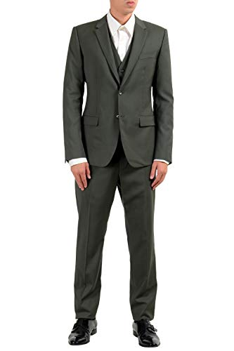 Dolce & Gabbana Three Button Suit - Dolce & Gabbana Men's Wool Green Two Button Three Piece Suit US 38 IT 48