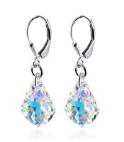 .925 Sterling Silver Dangle Earrings with Swarovski Elements Clear AB Crystal by Muimuijewel