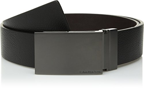 Calvin Klein Men's 38MM Reversible Emossed to Smooth Leather Belt with Plaque Buckle, Black/Brown, 32 by Calvin Klein