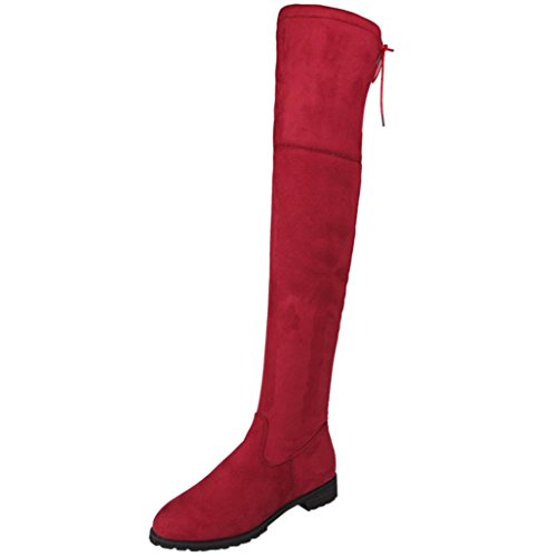 Bescita Ladies Womens Buckle Slim High Over The Knee Trim Flat Boots Shoes Red