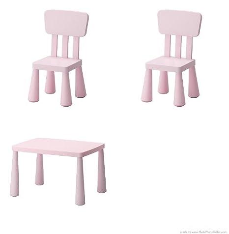 Ikea Mammut - Tavolino e 2 sedie per bambini, colore: rosa chiaro ...