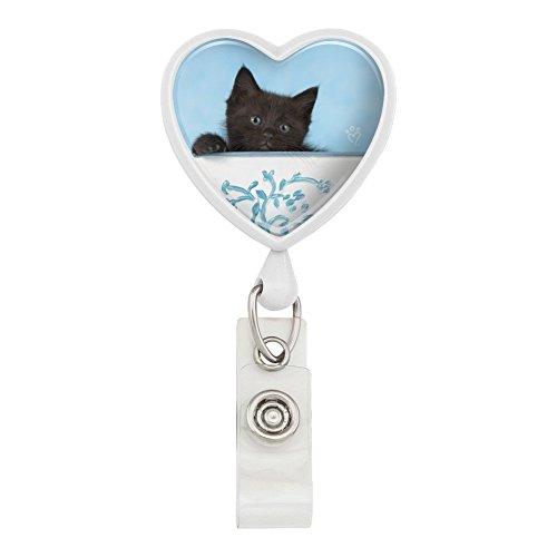 Heart Pail Heart Pail - Black Kitten Cat in Bucket Tin Pail Heart Lanyard Retractable Reel Badge ID Card Holder - White