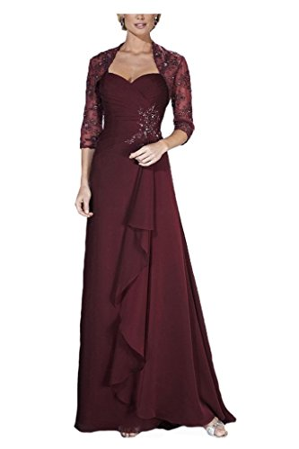 H.S.D Women's Sweetheart Lace Mother Of The Bride Dress With Jacket Burgundy