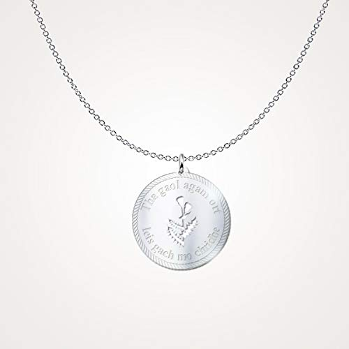 Scottish Jewellery Thistle (Scotland Thistle Jewelry Scottish Gaelic Necklace Tha Gaol Agam ort Leis Gach mo chridhe (I Love You with All My Heart) Gift for Him Her Silver Plated)