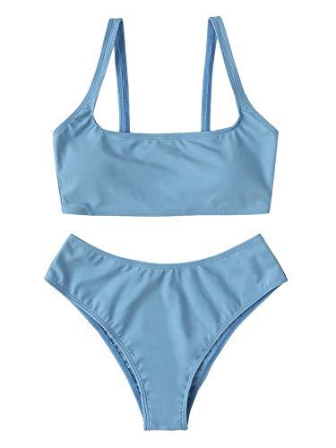 SweatyRocks Women's Swimwear Set Solid Scoop Neck High Waisted Bikini Swimsuits Blue Small