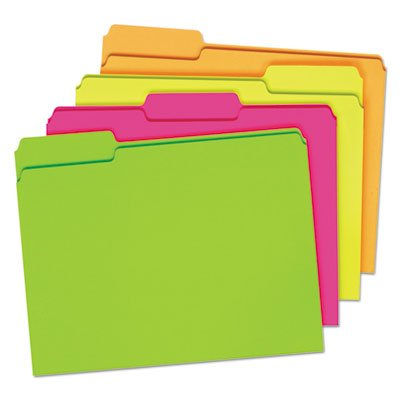 (Glow File Folders, 1/3 Cut Top Tab, Letter, Assorted Colors, 24/Box)