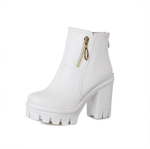 VogueZone009 Women's Round Closed Toe PU Zipper High-Heels Low Top Boots, White, 37]()