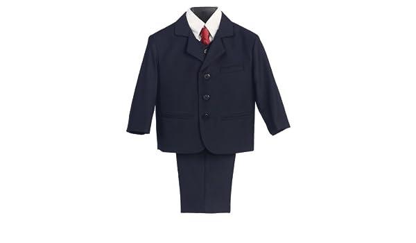 5 piezas Traje azul marino con camisa, chaleco y corbata – talla L ...