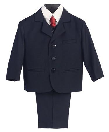 Amazon.com: 5 piezas Traje azul marino con camisa, chaleco y ...