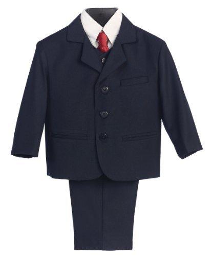 5 piezas Traje azul marino con camisa, chaleco y corbata ...