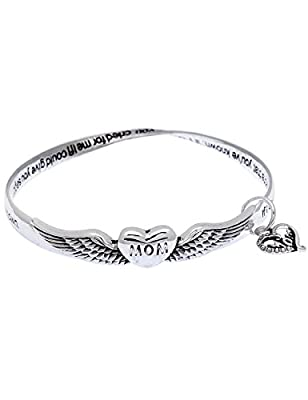 Mothers day beautiful sayings poem poet twist mobius charm bangle bracelet winged heart mom