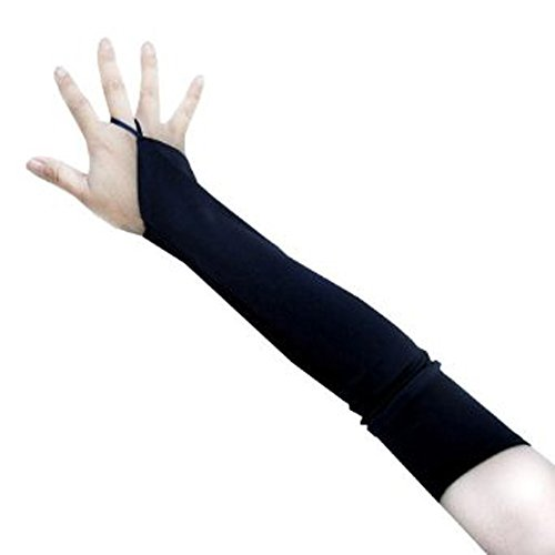 SACAS Over the Elbow Length Fingerless Satin Gloves in Black one size (Two Person Halloween Costumes)