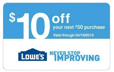 Lowe's $10 Off $50 Promo Code Coupon [Two Codes]