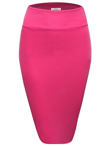 Fuschia Womens Skirt (Scuba Pencil Skirt Midi Bodycon Skirt Below Knee Skirt, Office Skirt High Waist Fuschia Large)
