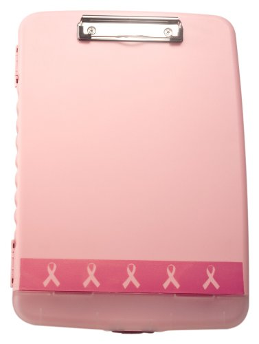 Officemate Breast Cancer Awareness Slim Clipboard Box, Pink, 1 Clipboard Box (08925)