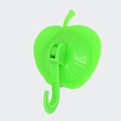 eDealMax Manzana de plástico en Forma de Aseo toalla de baño Perchas Gancho ventosa Verde