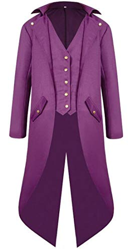 JXG Men Gothic Cosplay Halloween Uniform Victorian Tailcoat Tuxedo Jacket Coat Purple US 2XL