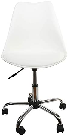 Office Chair White,Low-Back Support,PU Leather Surface,Computer Chair Comfort Height Adjustable