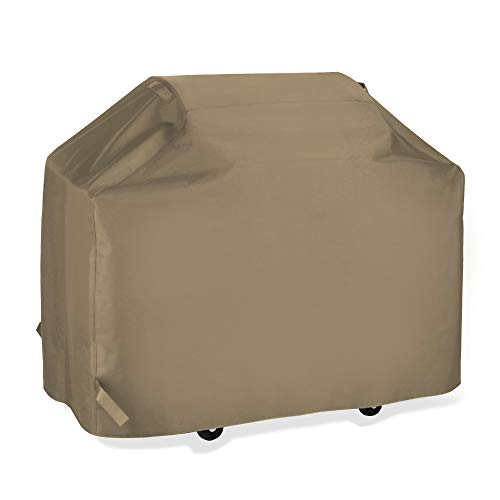 SunPatio Upgraded BBQ Grill Cover 65 Inch, Outdoor Barbecue Cover with Waterproof Sealed Seam, Fade Resistant, All Weather Protection for Weber Char-Broil Grills and More, Taupe