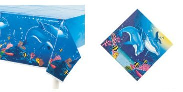 Awesome DOLPHIN PARTY Decor - TABLECLOTH & Luncheon NAPKINS Set/TROPICAL PARTIES/Blue Dolphin/SEA LIFE/OCEAN by OTC
